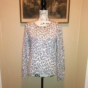 Ann Taylor Petites Cheetah Print Rabbit Pullover